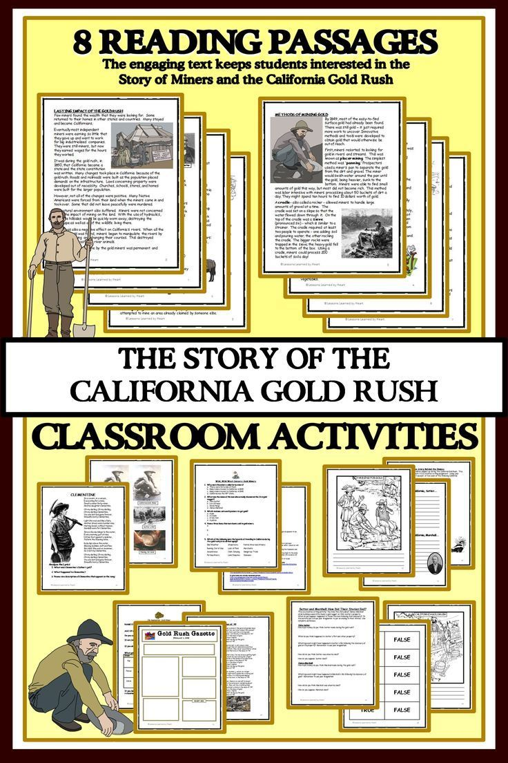 Your Students Will Enjoy The Engaging Reading Passages About The California Gold Rush E Reading Passages California Gold Rush Activities California Gold Rush