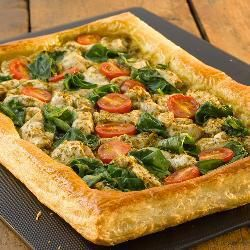 Chicken, spinach and pesto puff pastry open tart @ allrecipes.co.uk