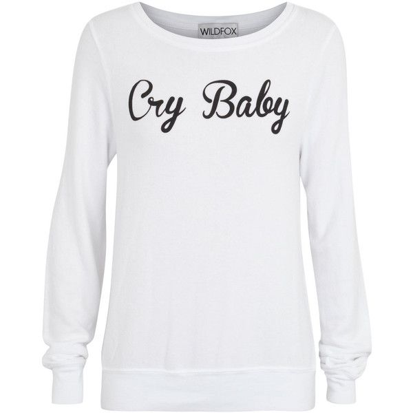 Wildfox Cry Baby Jersey Sweatshirt ($50) ❤ liked on Polyvore featuring tops, hoodies, sweatshirts, shirts, sweaters, sweatshirt, white, ribbed top, white jersey and jersey top