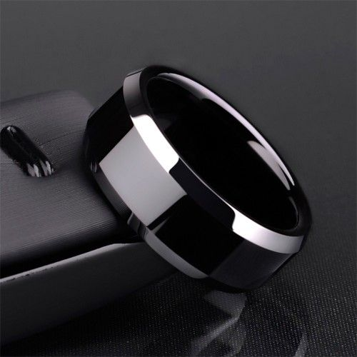 8mm black tungsten ring wedding ring for men - Black Wedding Rings For Men