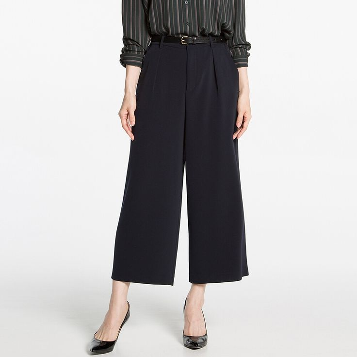 WOMEN Drape Wide Leg Tapered Ankle Length Pants