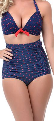 Unique Vintage Navy Blue & Red Polka Dot Monroe High Waist Bottoms