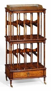 Jonathan Charles Special Order Two-Tier Double Canterbury With Drawer.Sheraton style two tier canterbury, the top shelf and drawer front with delicate marquetry swags, and the canterbury sections with five storage areas each. Fluted slender columns to the exterior and elegant spindle supports within. The whole raised on patinated brass castors