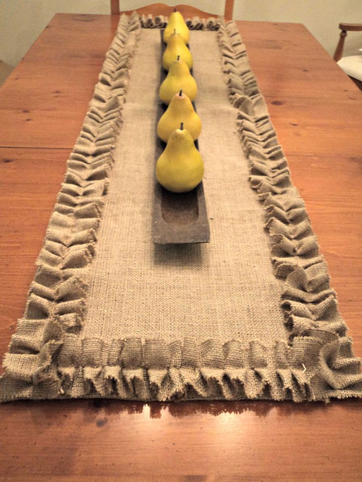 ... Burlap Table Runner with Ruffles Special Table Settings Burlap Table