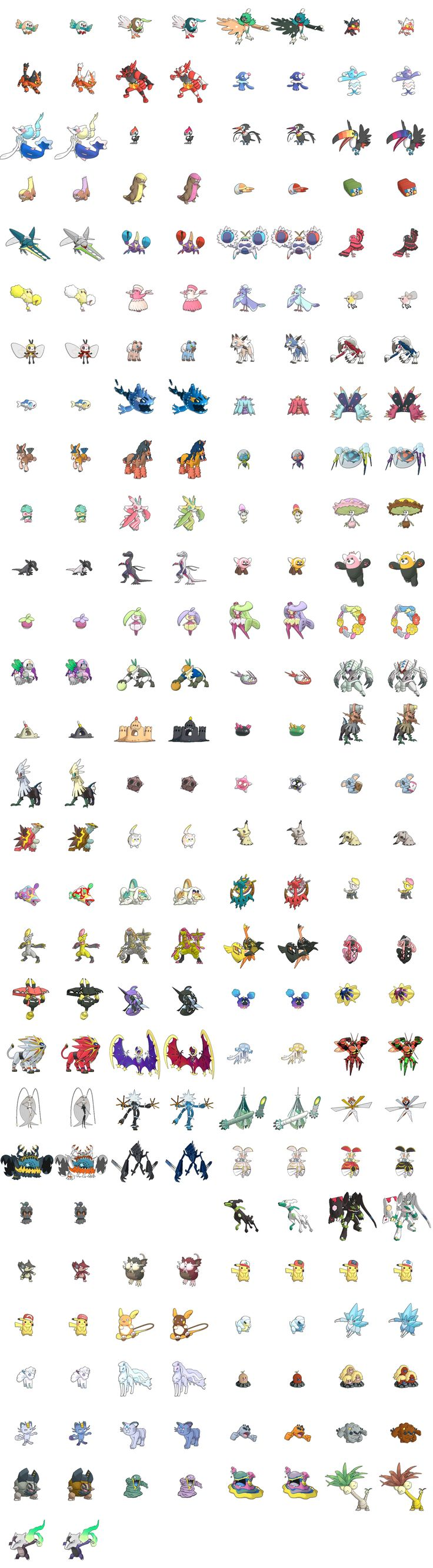 Gen 7 Sprite List WITH shiny forms (Excluding all Silvally forms)