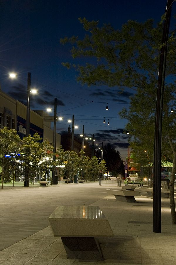 Hargreaves Mall in Bendigo Victoria - A great Catenary Lighting project Ronstan completed back in 2008 - The play of light and shadow is terrific. Rowan.