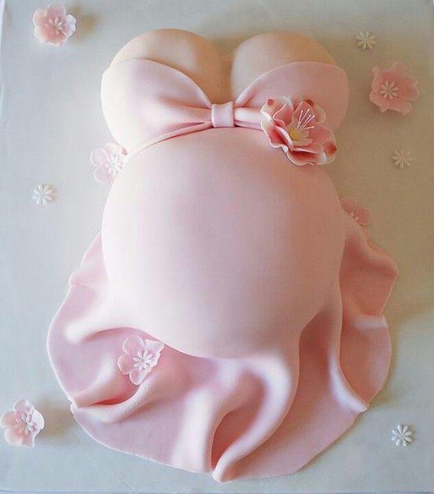 Pastel Para BabyShower De Niña Con La Pancita De Mamá.