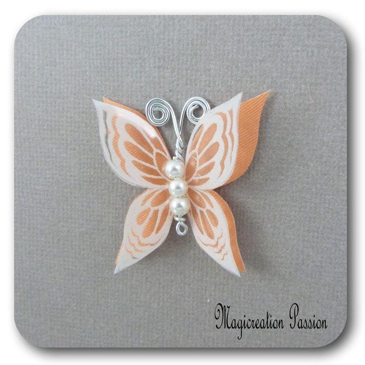 papillon 3.5 cm double ailes soie orange transparent blanc - Ysatis : Décoration d'intérieur par les-tiroirs-de-magicreation-passion