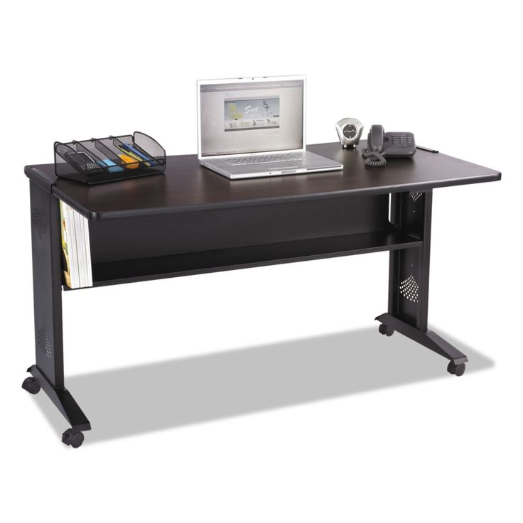 Mobile Computer Desk W/reversible Top, 53.5 X 28 X 30, Mahogany/medium Oak/black