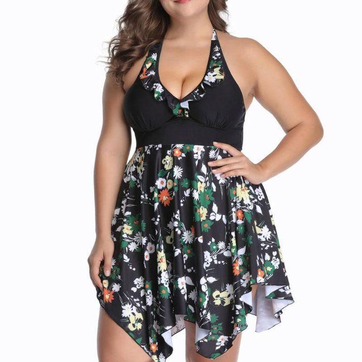 Large Size Cut Skirt Print Swimsuit 2