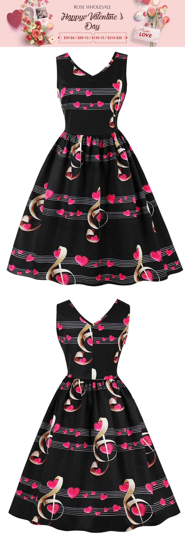 $13.99,Plus Size Heart Musical Note Print Retro Dress - Black 4xl | Rosewholesale,rosewholesale.com,rosewholesale clothes,rosewholesale.com clothing,rosewholesale dress,rosewholesale dress vintage,rosewholesale valentines day,valentines day outfit,valentines day dress,vintage dress,prom dress.party dress,plus size,rosewholesale dress plus size,heart,music print | #rosewholesae #dress #vintage #plussize