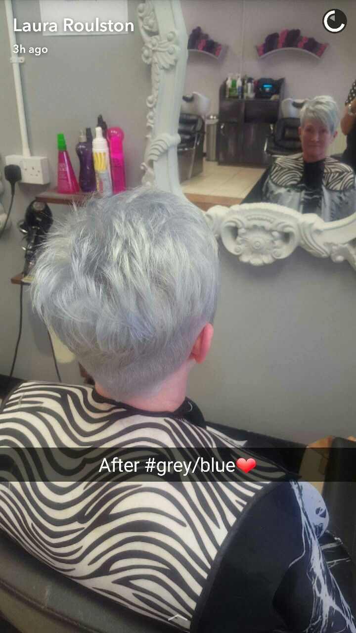 #fusionHDhair #newstyle #hairenvy A blue grey toner on a short trendy hair cut - both sides and back are a shaved undercut