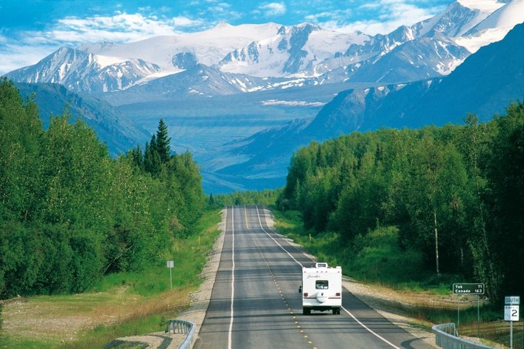 Road trippin' it on the Yukon Highway in a travel camper.