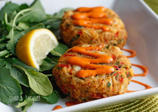 Baked Lump Crab Cakes with Red Pepper Chipotle Lime Sauce Recipe Main Dishes with crab meat, crackers, eggs, scallions, red bell pepper, low-fat mayonnaise, fresh cilantro, lime, pepper, salt, cooking spray, pepper, light mayonnaise, adobo sauce, chiles, fresh lime juice