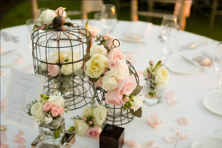 Bird Cages adorned with Rose, Garden Rose, Mini Rose and Foliage