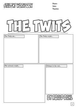 "The Twits Workbook has ""comic style"" worksheets and novel study activities for the story by Roald Dahl.  It includes; cover page with a prediction activity, vocabulary (4 pages), questions (5 pages), alliteration (1 page), diamante poem (1 page), puzzles (2 pages), describe the characters (1 page) and make a comic (1 page)."