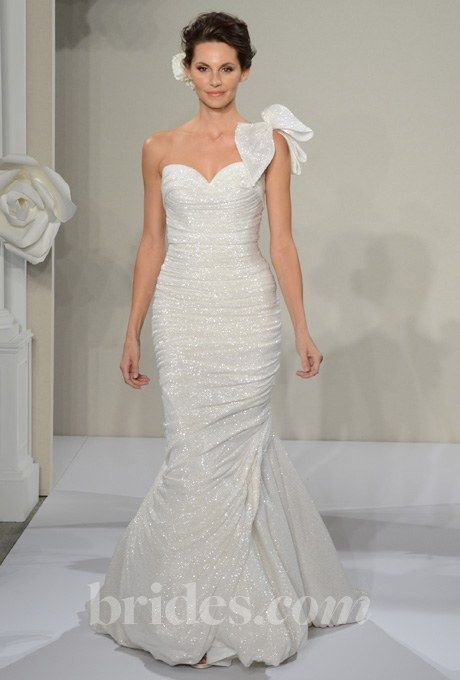 Style 4220, ruched beaded lace mermaid wedding dress with a sweetheart neckline and one-shoulder bow strap, Pnina Tornai See more Pnina Tornai wedding dresses in our gallery.