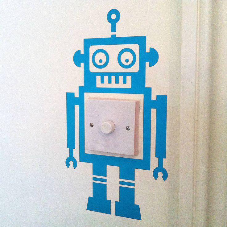 Robot Light Switch Vinyl Wall Sticker