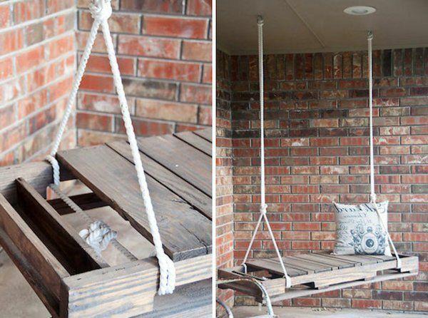 Möbel aus Europaletten basteln schaukel seil veranda