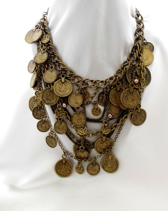 Vintage Coin Bib Necklace by Chico's by Ladysfancys on Etsy, $54.99