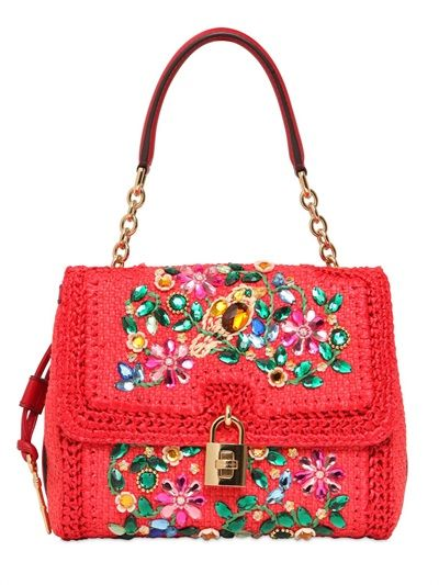 DOLCE & GABBANA - MEDIUM DOLCE EMBELLISHED TOP HANDLE BAG - LUISAVIAROMA - LUXURY SHOPPING WORLDWIDE SHIPPING - FLORENCE