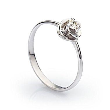Кольцо солитер с бриллиантом из белого золота