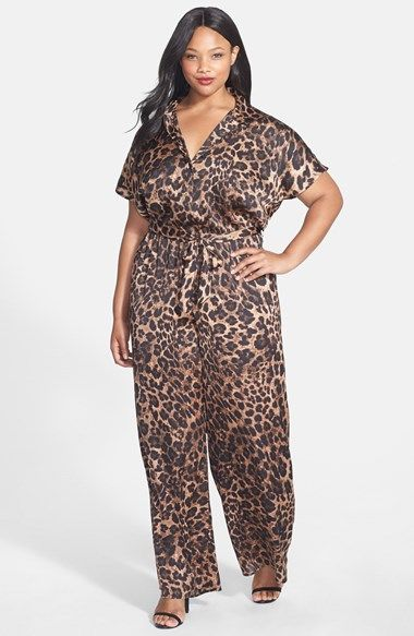 MICHAEL Michael Kors 'Vesler' Leopard Print Jumpsuit (Plus Size) available at #Nordstrom