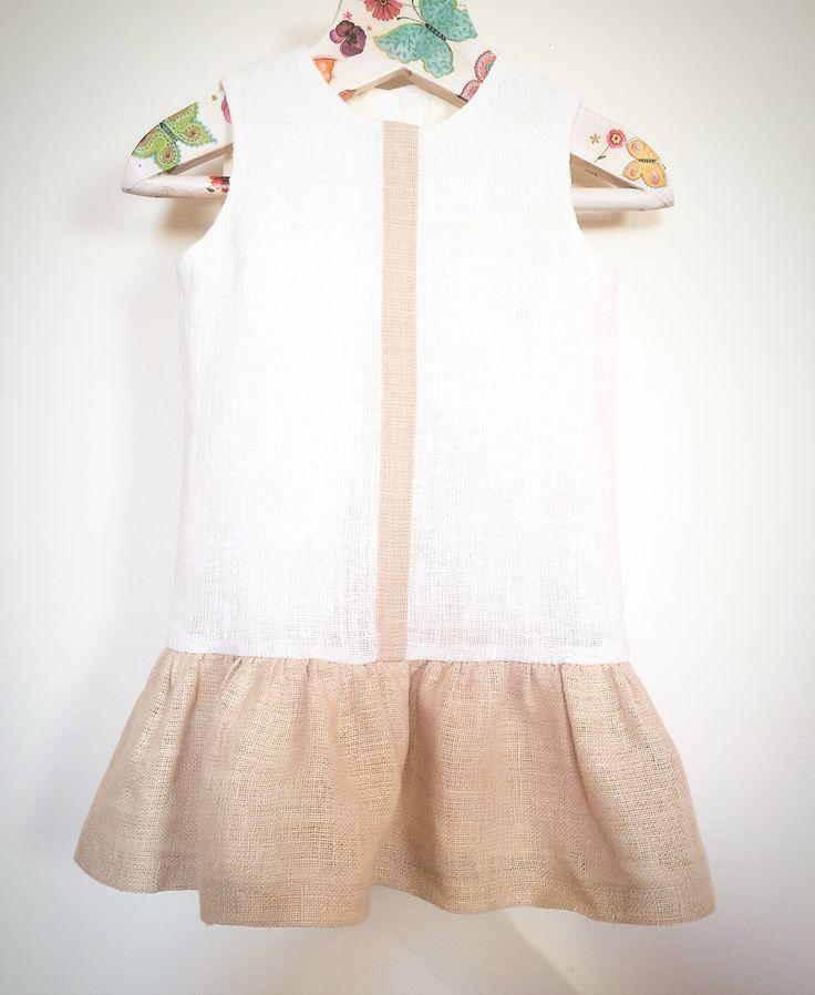Baby girls linen dress for baptisms, soft linen, eco friendly dress, christening dress, summer dress