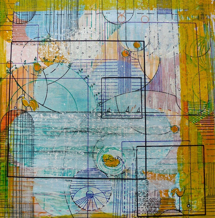 Title: The never ending hello and goodbye to mathematics. Mixed media by Marianne Mehl Lauvland