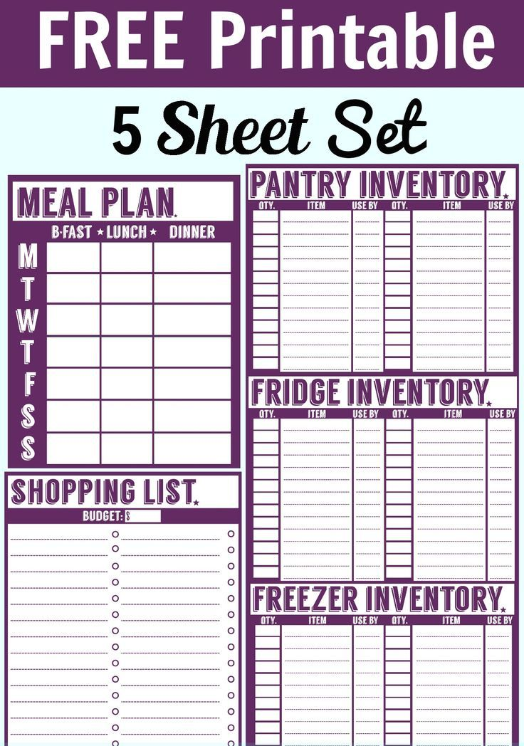 Free 5 Sheet Printable Set. Includes a menu planner, shopping list, pantry inventory sheet, freezer inventory sheet, and fridge inventory sheet.