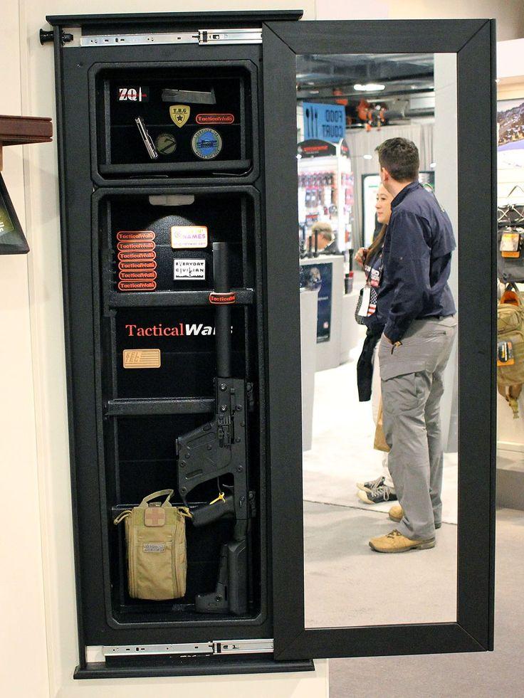 Gun safe wall mirror