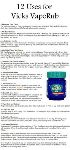 12 Uses for Vicks VapoRub The Vicks on your feet one really works! I did this a couple of days ago and I slept like a baby!