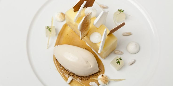 Top chef Simon Haigh is known for his wonderfully creative desserts. In this lemon meringue pie recipe pine nut ice cream adds a surprising delight