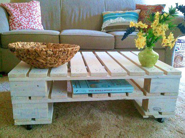 DIY Möbel aus Europaletten couchtisch massiv  wohnzimmer