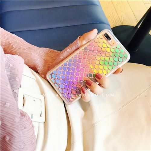 Bling Mermaid scales Glitter quicksand case For iPhone 7 7Plus Shinny Laser Dynamic Liquid case For iphone 6 6s 6Plus