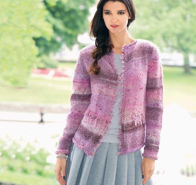 Розовый жакет спицами с бахромой из пряжи секционного крашения - Портал рукоделия и моды