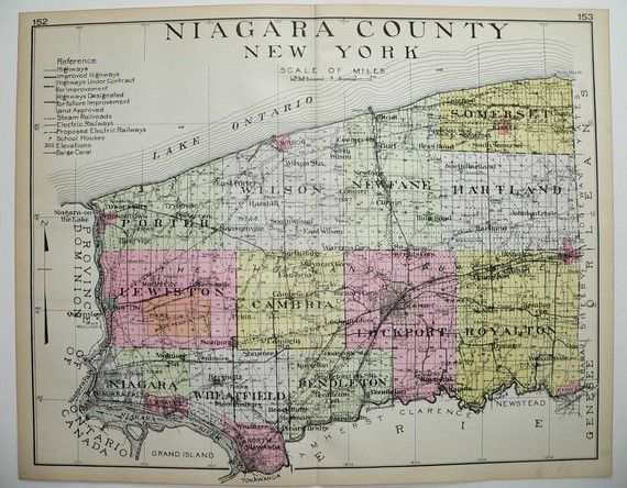 for map wall  Niagara County New York NY Large 1912 Antique by OldMapsandPrints, $125.00