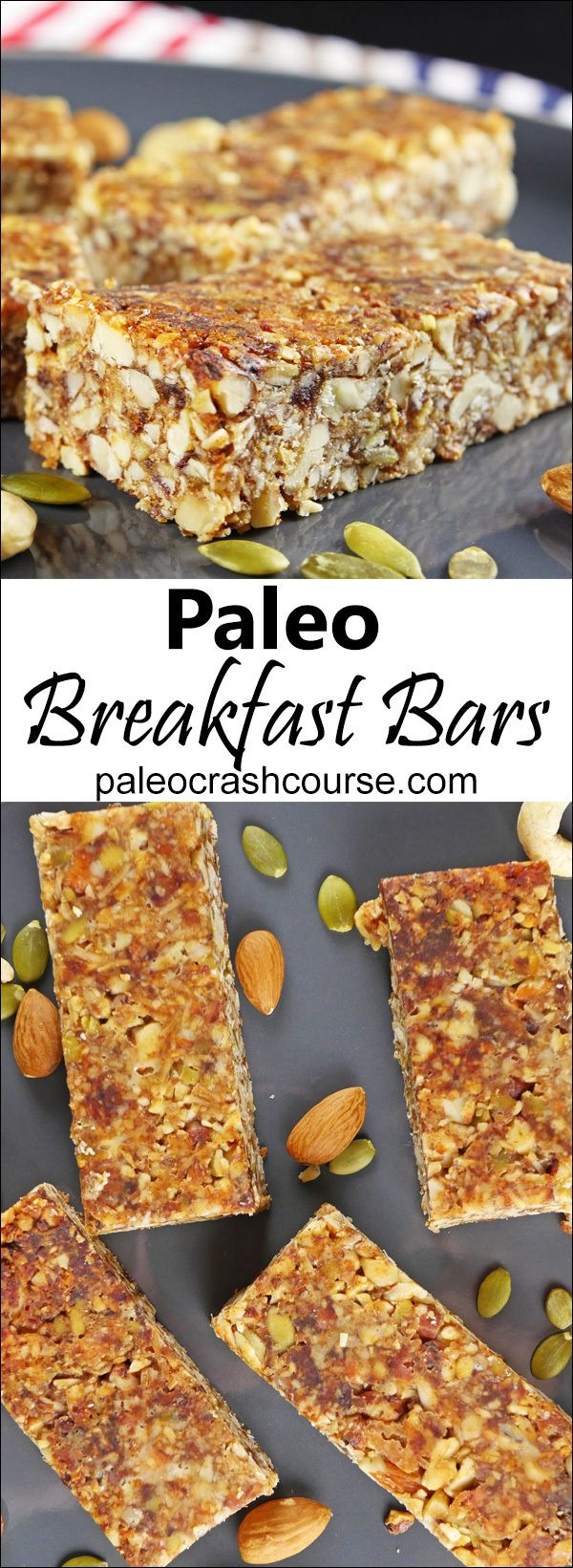 "Delicious nut packed paleo friendly breakfast bars that are perfect for a ""on the go"" breakfast."