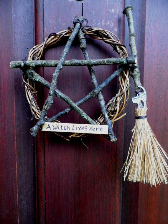 """Witch Pentacle Vine / Oak Twig Pentagram Wreath by PositivelyPagan... this would be and easy """"witch-craft"""" to make for my front door. :)"""