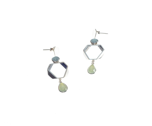 Aquamarine & Prehnite Cocktail Earrings