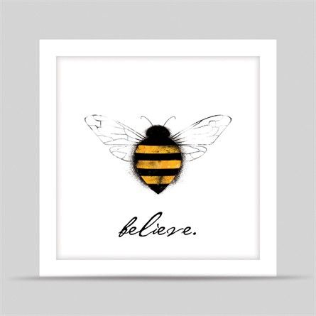 White Bee Believe Framed Art Print