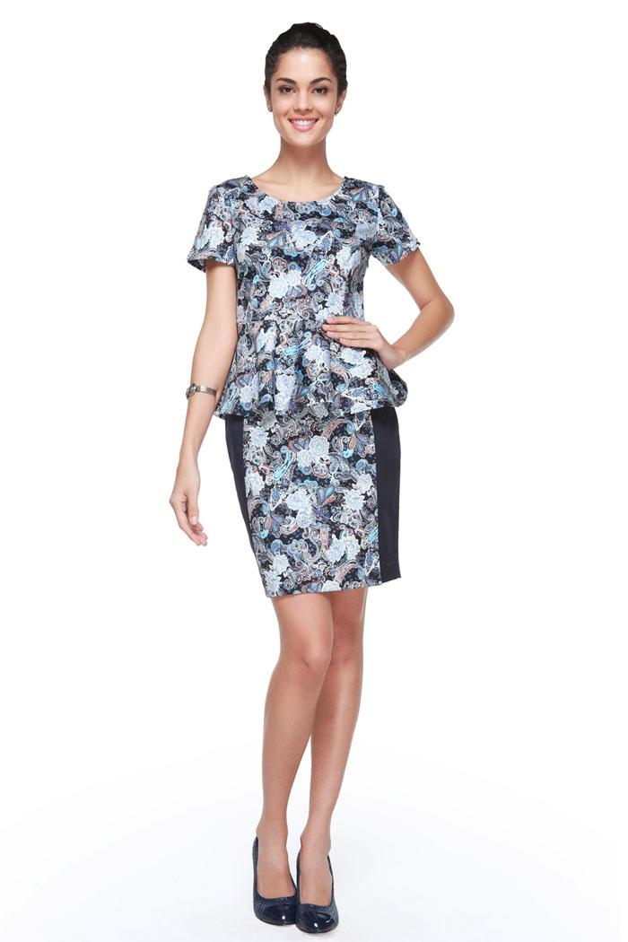 Batik-like print peplum blouse | minimal