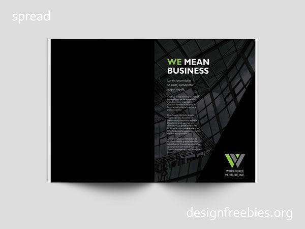 Free company profile InDesign template spread 1 indesign - company business profile template