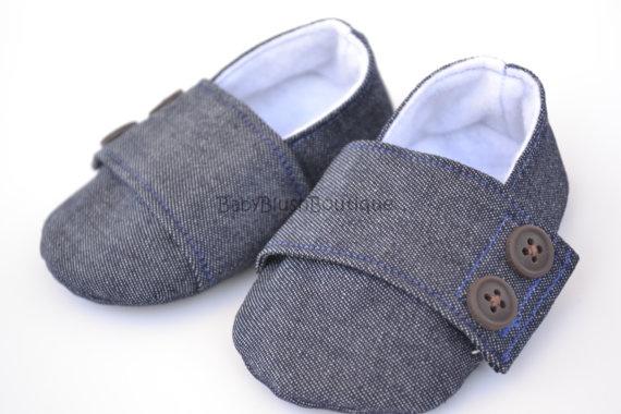 Denim Baby Boy Soft Soled Baby Shoes  Infant by babyblushboutique, $20.00
