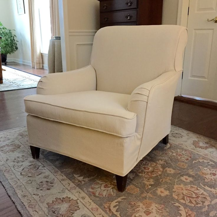 Drop cloth slipcover on a vintage club chair