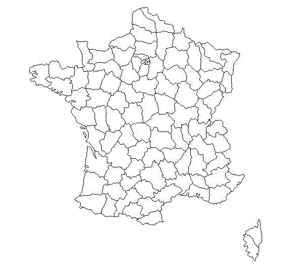 Fond de carte vierge des départements français
