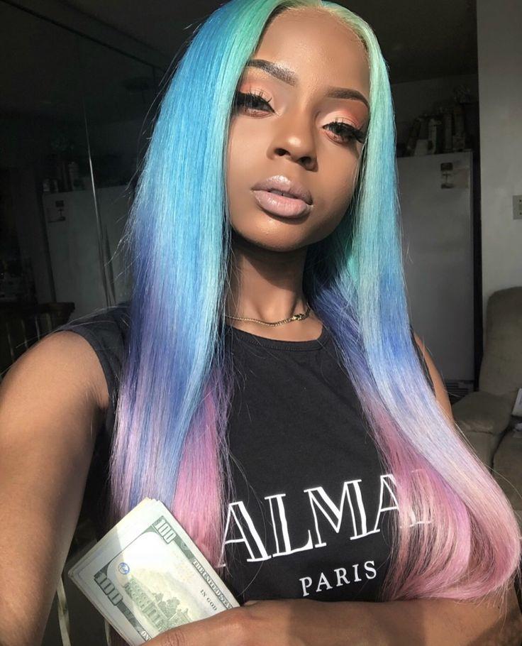 Pinterest// Jay Ebony 💫 Hair color for dark skin, Neon