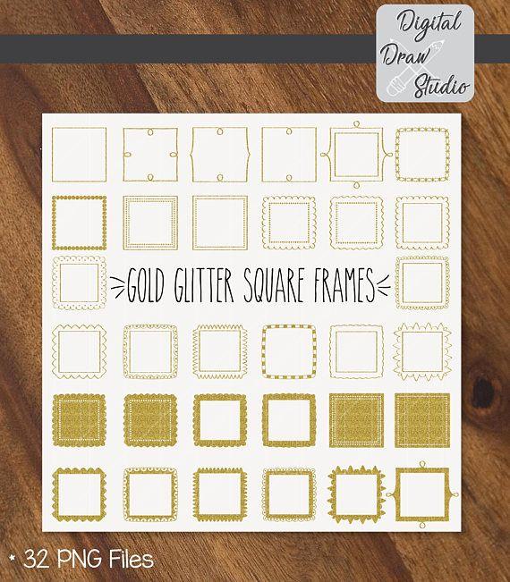 32 Gold Glitter Square Frames Clip Art Square Hand Drawn | Clip Art ...