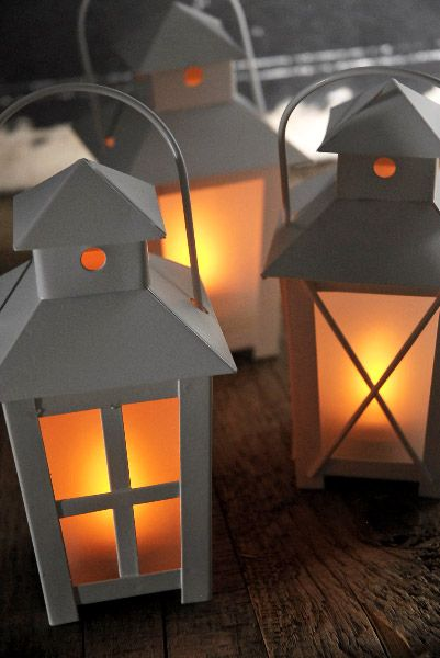 Battery operated quot lanterns white