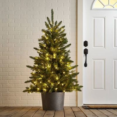 LED Pre-Lit Galvanized Entryway Artificial Tree | Pier 1 Imports